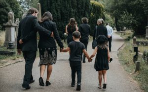 Family walking together at funeral