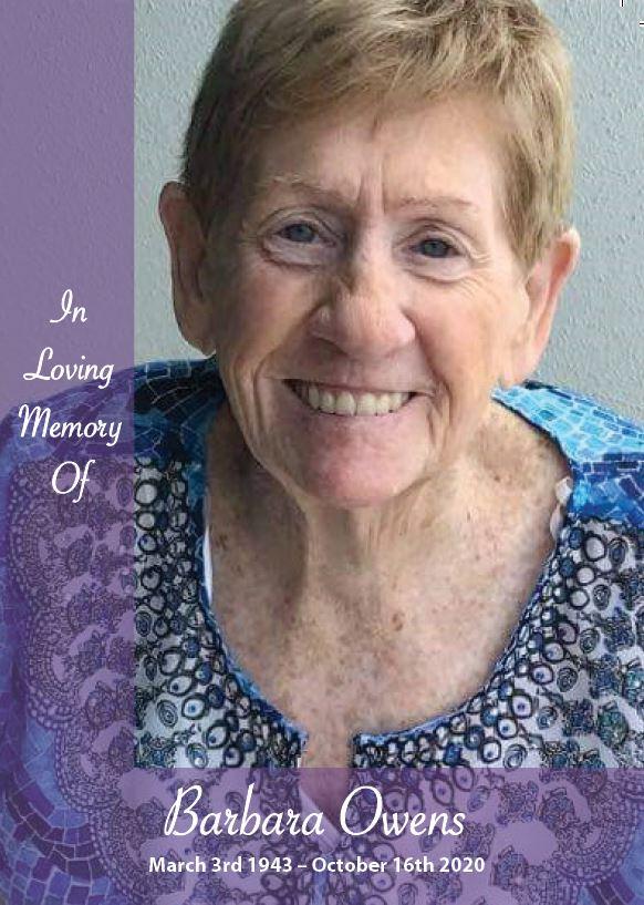 In loving memory of Barbara Owens – 77 Years photo