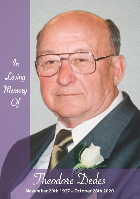 In loving memory of Theodore Dedes – 93 years photo