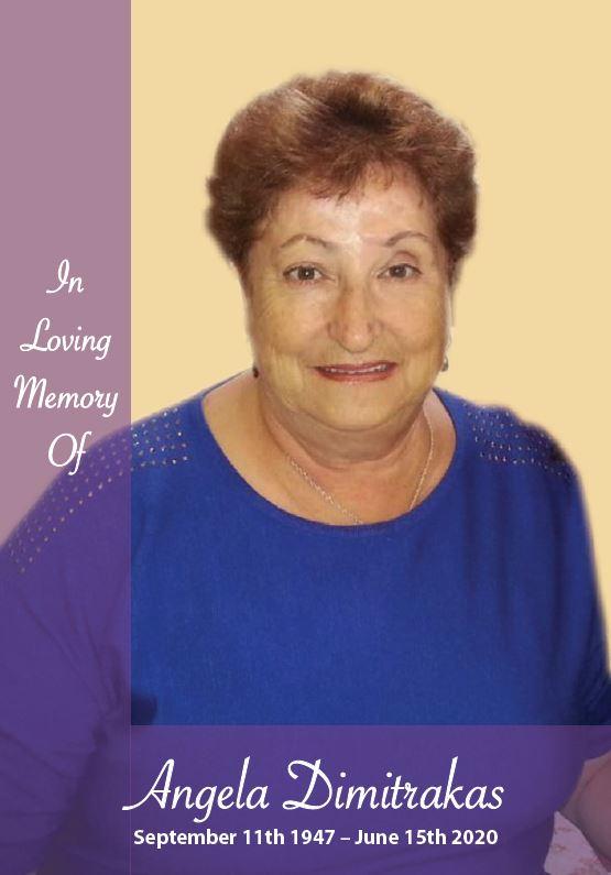 In loving memory of Angela Dimitrakas – 72 Years photo