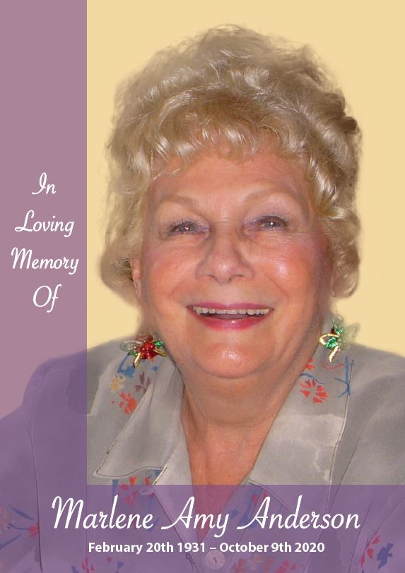In loving memory of Marlene Amy Anderson – 89 Years photo