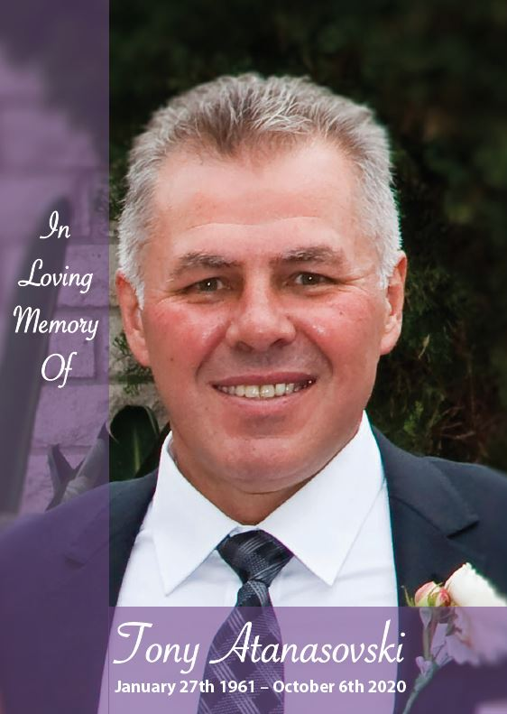 In loving memory of Tony Atanasovski – 59 Years photo
