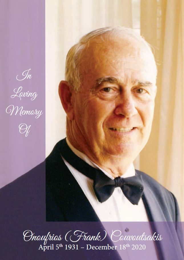 In loving memory of Onoufrios (Frank) Couvoutsakis – 89 years photo