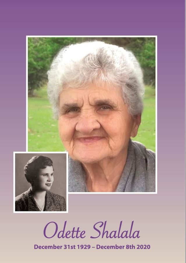 In loving memory of Odette Shalala – 90 years * Order of Service Book * photo