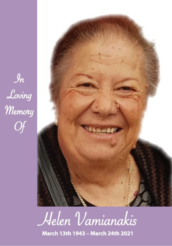 In loving memory of Helen Vamianakis – 78 years photo