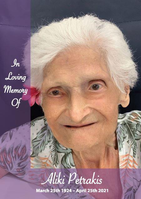 In loving memory of Aliki Petrakis – 97 years photo