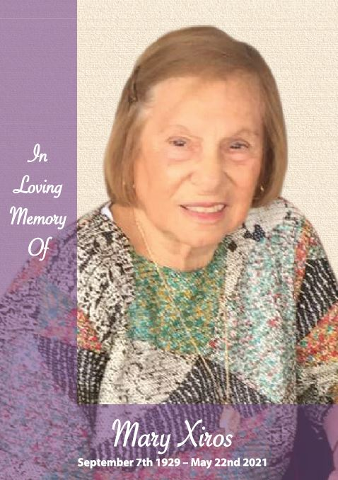 In loving memory of Mary Xiros – 91 years photo