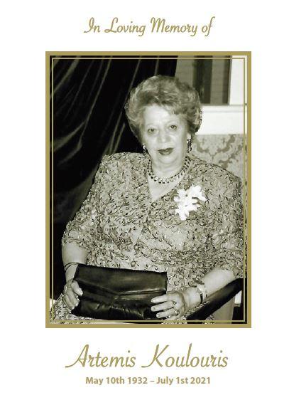 In loving memory of Artemis Koulouris – 89 years photo