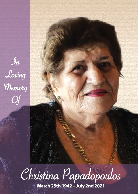 In loving memory of Christina Papadopoulos – 79 years photo